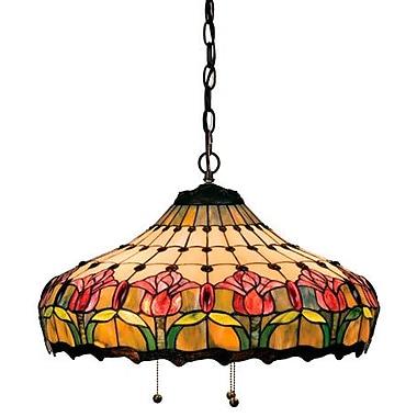 Meyda Tiffany Victorian Tiffany Nouveau Colonial 3 Light Bowl Pendant
