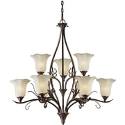 Forte Lighting 9 Light Chandelier with Umber Glass Shade