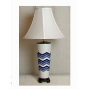 Lamp Factory Flamestitch 27'' H Table Lamp with Bell Shade; Blue and White