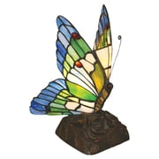 Chloe Lighting Tiffany Butterfly 10'' H Table Lamp with 99 Glass Pieces