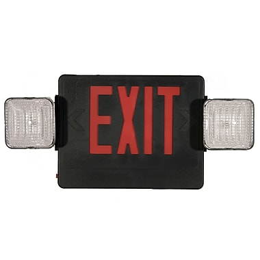 Morris Products Combo Remote Capable LED and Exit / Emergency Light in Red LED and Black Housing