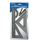 Bazic 4-Piece Geometry Combination Ruler with Compass; Case of 144