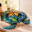 Cape Craftsmen Embossed and Hand Painted Glass and Metal Turtle with Flower 15.2'' H Table Lamp