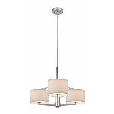 Dolan Designs Monaco 3 Light Drum Pendant; Satin Nickel