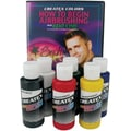 Createx Colors 2 oz Prim Airbrush Paint Set with Dvd