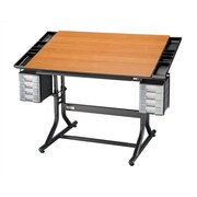 Alvin and Co. CraftMaster II Wood Drafting Table; Black Base & Cherry Top