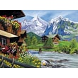 Reeves Paint By Numbers Large Mountain Chalets Painting