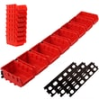 Stalwart™ 8-Bin Wall Mounted Parts Rack, Red