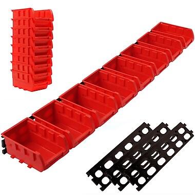 Stalwart™ 8-Bin Wall Mounted Parts Rack, Red