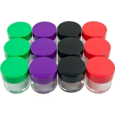 Stalwart™ 20 ml Color Coded Plastic Jar Set, Red/Green/Purple/Black, 12 Pieces/Set