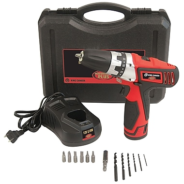 King Canada Lithium Ion Cordless Drill Kit, 12V