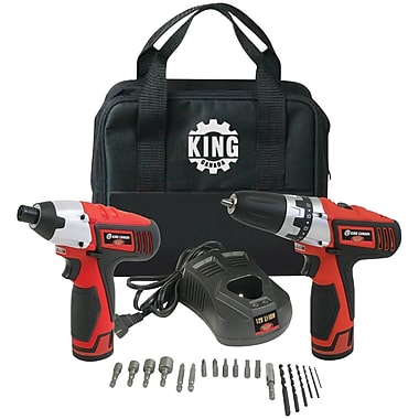 King Canada Lithium Ion Cordless Drill and Impact Driver Kit, 12V