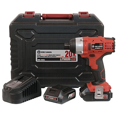 King Canada Lithium Ion Cordless Impact Driver Kit, 12V