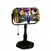 Warehouse of Tiffany Dragonfly Banker 12'' H Table Lamp with Rectangular Shade