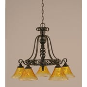 Toltec Lighting Elegant  5 Downlight Chandelier with Marble Glass; Gold Champagne Crystal Glass