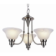 TransGlobe Lighting Contemporary 3-Light Shaded Chandelier; Brushed Nickel