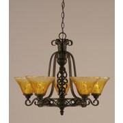 Toltec Lighting Elegant  5 Uplight Chandelier with Firr  Saturn Glass; Gold Champagne Crystal Glass