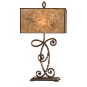 Kalco Windsor 32.4'' H Table Lamp with Rectangular Shade; Antique Copper