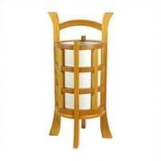 Oriental Furniture Kharbarousk Shoji 18'' H Table Lamp w/ Drum Shade; Honey