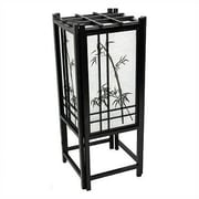 Oriental Furniture Bamboo Tree Shoji 18'' H Table Lamp with Square Shade; Black