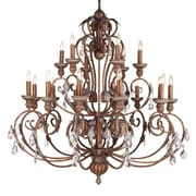 Livex Lighting Iron and Crystal 18 Light Chandelier in Crackled Bronze with Vintage Stone Accents