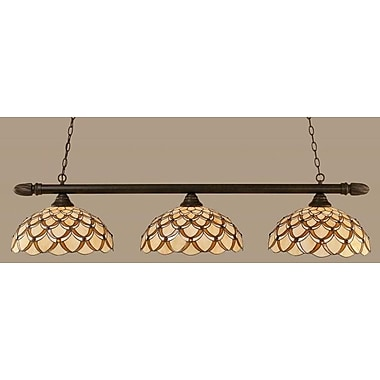 Toltec Lighting 3-Light Round Kitchen Island Pendant; Dark Granite