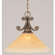 Toltec Lighting Curl 1-Light Downlight Pendant; Amber Crystal Glass