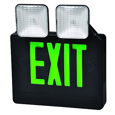 Morris Products Combo LED and Exit / Emergency Light in Green LED and Black Housing