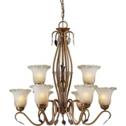 Forte Lighting 9 Light Chandelier with Umber Ice Glass Shades