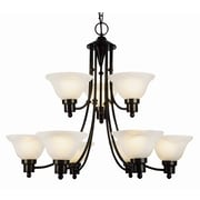 TransGlobe Lighting Contemporary 9 Light Chandelier with Fabric Shade; Weathered Bronze