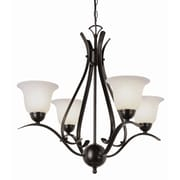 TransGlobe Lighting Contemporary 4-Light Shaded Chandelier; Rubbed Oil Bronze