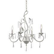 TransGlobe Lighting Climbing Vine 4 Light Crystal Chandelier; White