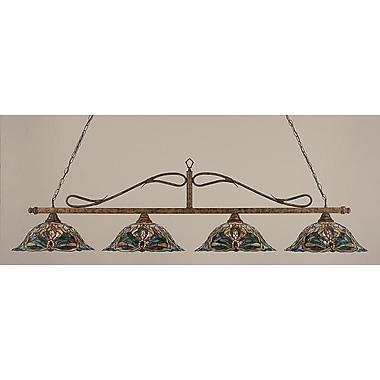 Toltec Lighting 4-Light Wrought Iron Rope Kitchen Island Pendant; Bronze