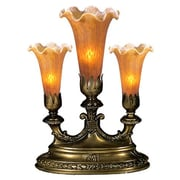 Meyda Tiffany Victorian Pond Lily Mantelabra 13'' Table Lamp; Amber