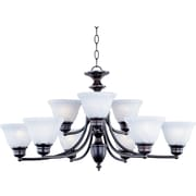 Maxim Lighting Malaga 9-Light Chandelier; Satin Nickel with Frosted Glass Shade