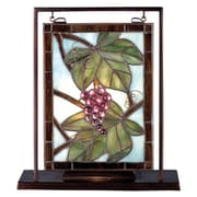 Meyda Tiffany Floral Nappa Vintage Lighted Mini 10.5'' H Table Lamp with Rectangular Shade