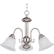 Maxim Lighting Malaga 3-Light Chandelier; Satin Nickel with Frosted Glass Shade