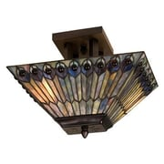 Meyda Tiffany 2 Light Peacock Oblong Semi Flush Mount