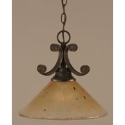 Toltec Lighting Curl 1 Light Downlight Pendant; Amber Crystal Glass in Bronze