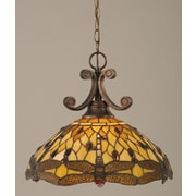 Toltec Lighting Curl 1-Light Downlight Pendant; Amber Dragonfly Tiffany Glass