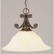 Toltec Lighting Curl 1-Light Downlight Pendant; Amber Marble Glass