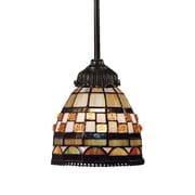 Landmark Lighting Mix-N-Match 1 Light Mini Pendant; Tiffany Bronze with Geometric Design Glass Shade