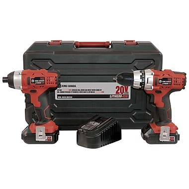King Canada Lithium Ion Cordless Drill and Impact Driver Kit, 20V