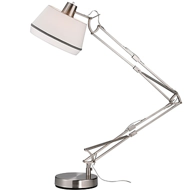 Adesso® Grant 100 W Architect Floor Lamp, Satin Steel