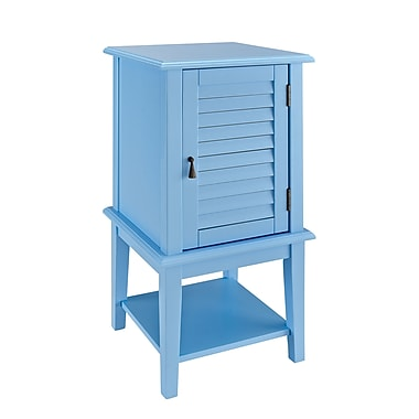 Powell Shutter Door Wood/Veneer Accent Table, Blue, Each (254-351)