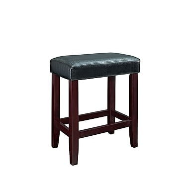 Powell Furniture Croc 24'' Modern Foot Ring/Bar Faux Leather Bar Stool, Black (358-863X)
