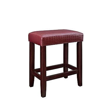 Powell Furniture Croc Faux Leather Hardwood Counter Stool Red