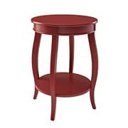 "Powell Furniture Round Table with Shelf 24"" Tall Solid Wood Red"