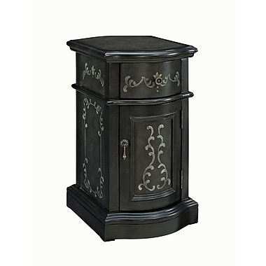 Powell Glass Side Table, Black, Each (528-222)