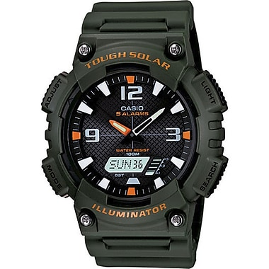 Casio® AQS810W-3AV Men's Analog/Digital Sports Chronograph Wrist Watch, Green